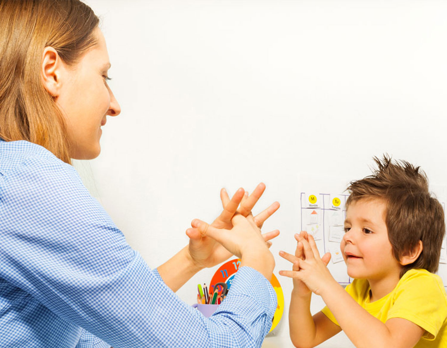 therapist working with boy