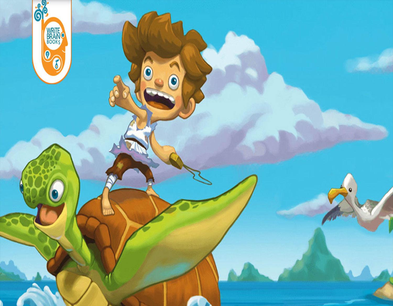 cartoon boy on turtle